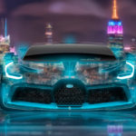 Bugatti Divo Front Super Neon Crystal New York Night City Art Car 2018