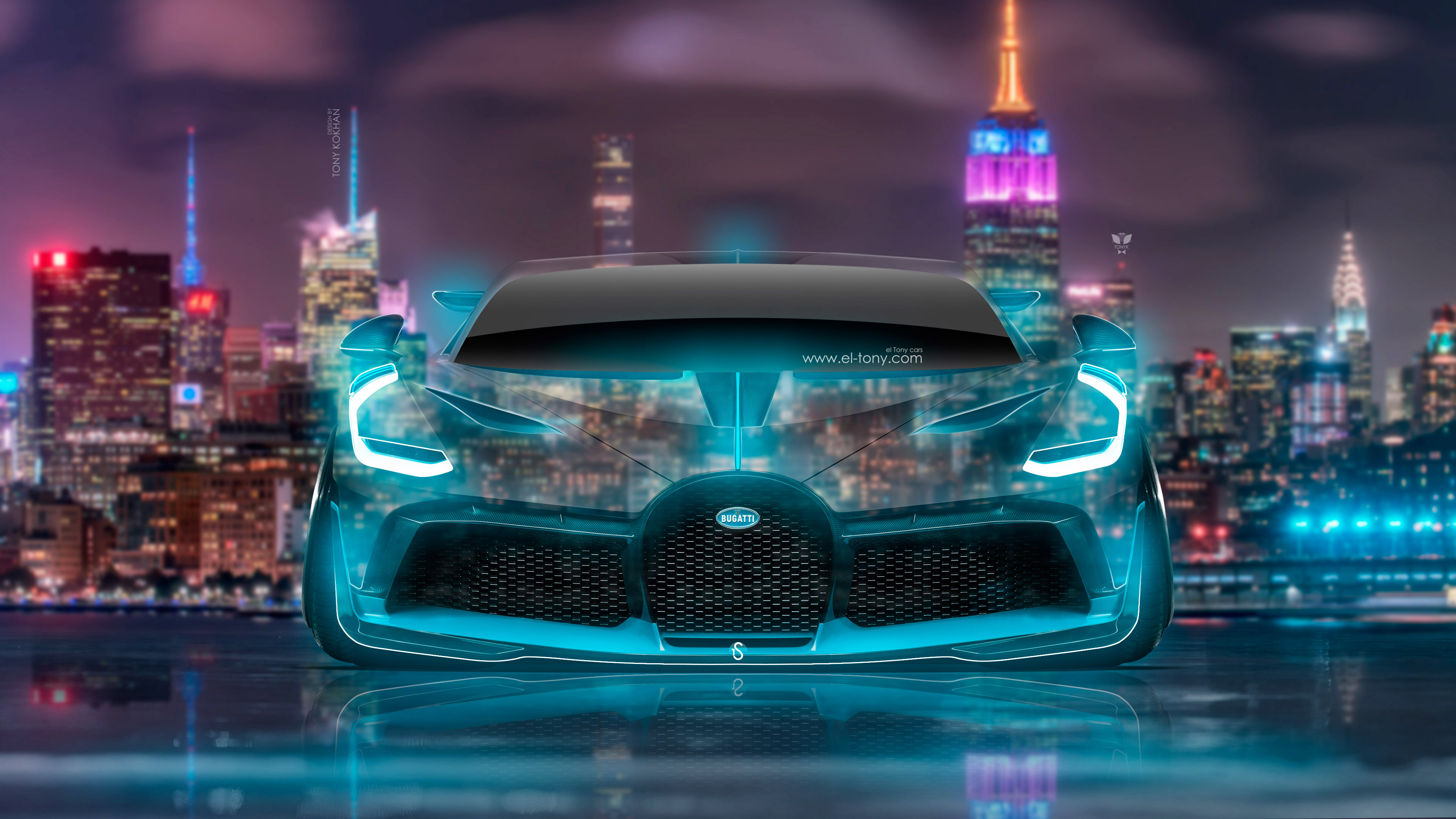 Bugatti-Divo-Front-Super-Neon-Crystal-New-York-Night-City-Art-Car-2018-Multicolors-4K-Wallpapers-design-by-Tony-Kokhan-www.el-tony.com-image