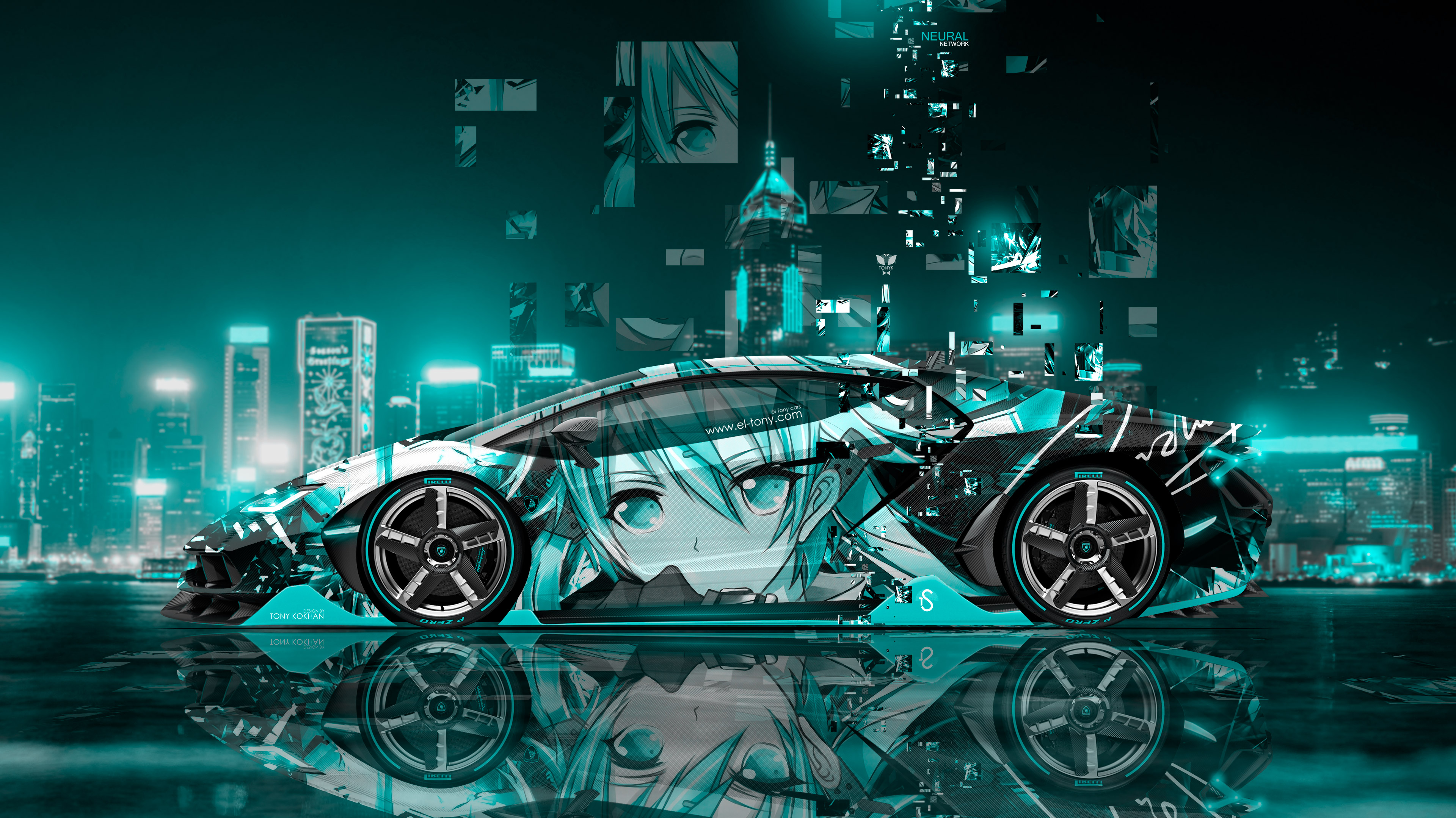 lamborghini centenario side super anime girl aerography china hong kong night city art car