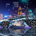 Lamborghini Centenario Side Super Anime Girl Aerography China Hong Kong Night City Art Car 2018