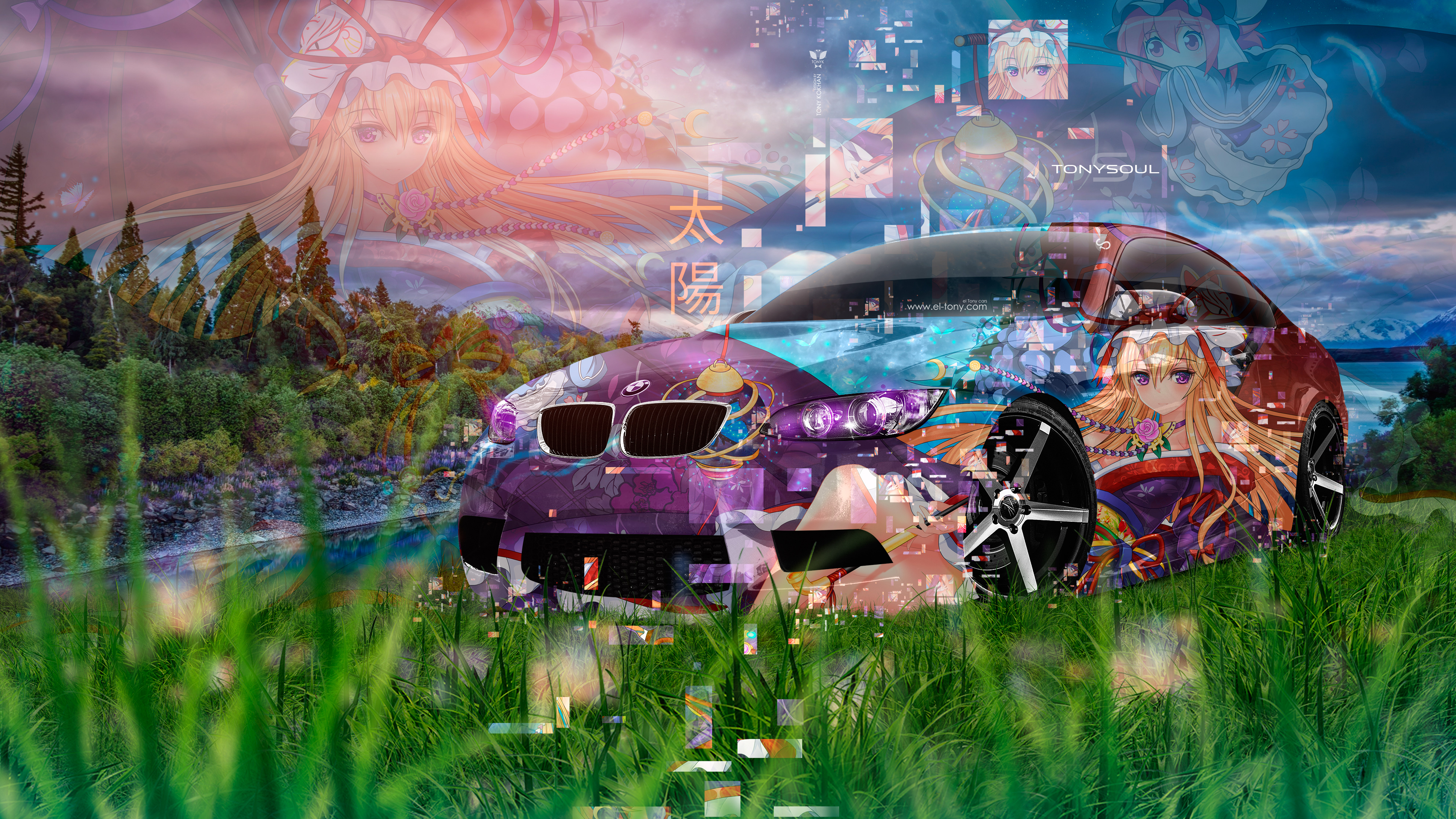 BMW-M3-E92-Super-Anime-Girl-Aerography-Japanese-Hieroglyph-Nature-Grass-Art-Car-2019-Multicolors-8K-Wallpapers-design-by-Tony-Kokhan-www.el-tony.com-image