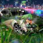 Nissan Skyline GTR R34 Super Anime Girl Privacy Aerography TonySoul Night City Grass Art Car 2019