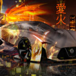Nissan GTR 2020 Super Anime Girl Boy Love Fire Aerography Night City Art Car 2019