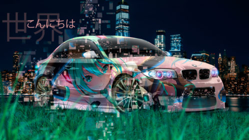 BMW-M1-Tuning-3D-Super-Anime-Girl-Japanese-Heiroglyph-Hello-World-Night-City-Art-Car-2019-Multicolors-8K-Wallpapers-design-by-Tony-Kokhan-www.el-tony.com-image