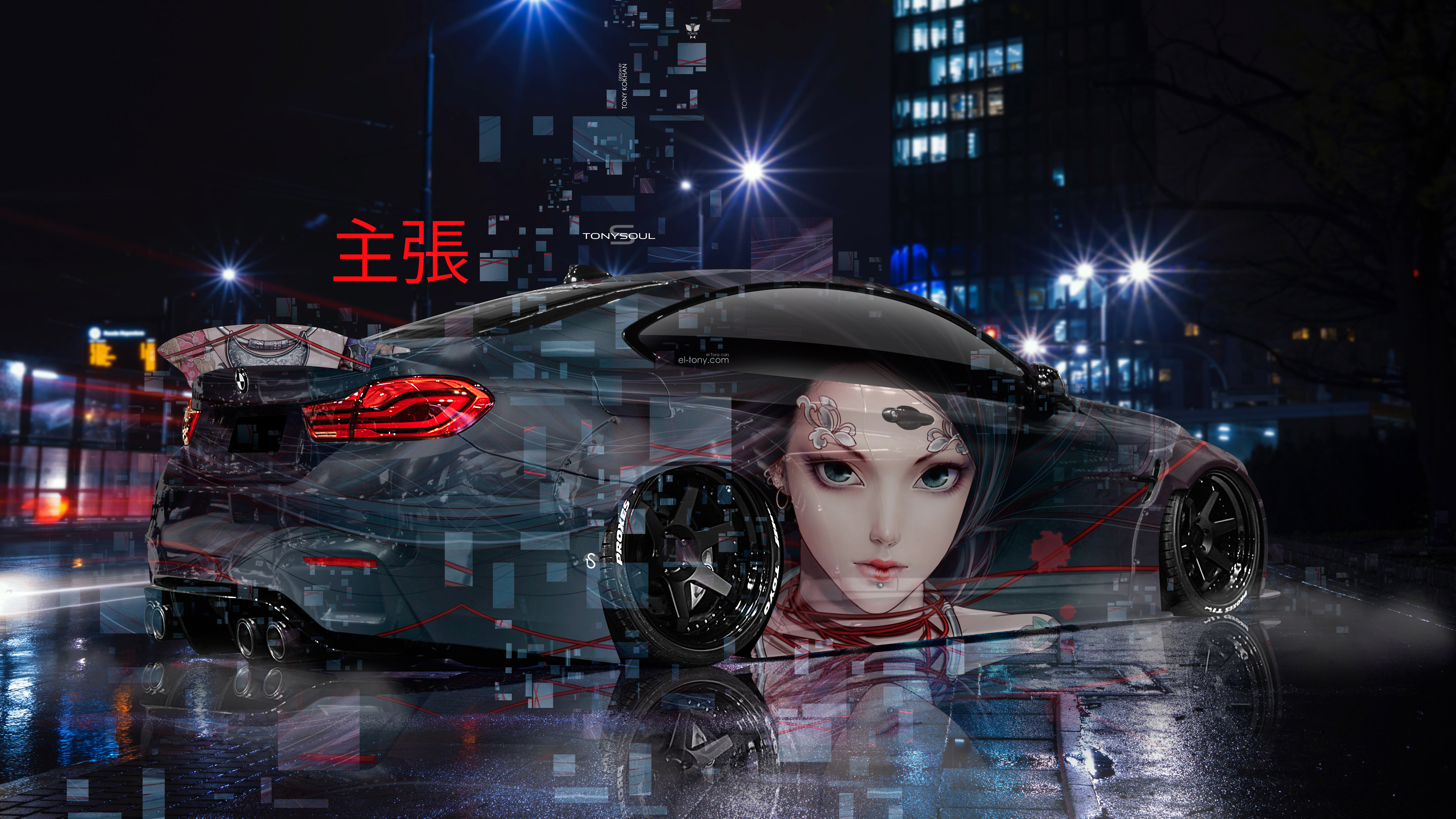 BMW-M4-F82-Tuning-Back-3D-Super-Anime-Girl-Claim-Aerography-Japanese-Hieroglyph-Night-City-Art-Car-2019-Multicolors-8K-Wallpapers-design-by-Tony-Kokhan-www.el-tony.com-image
