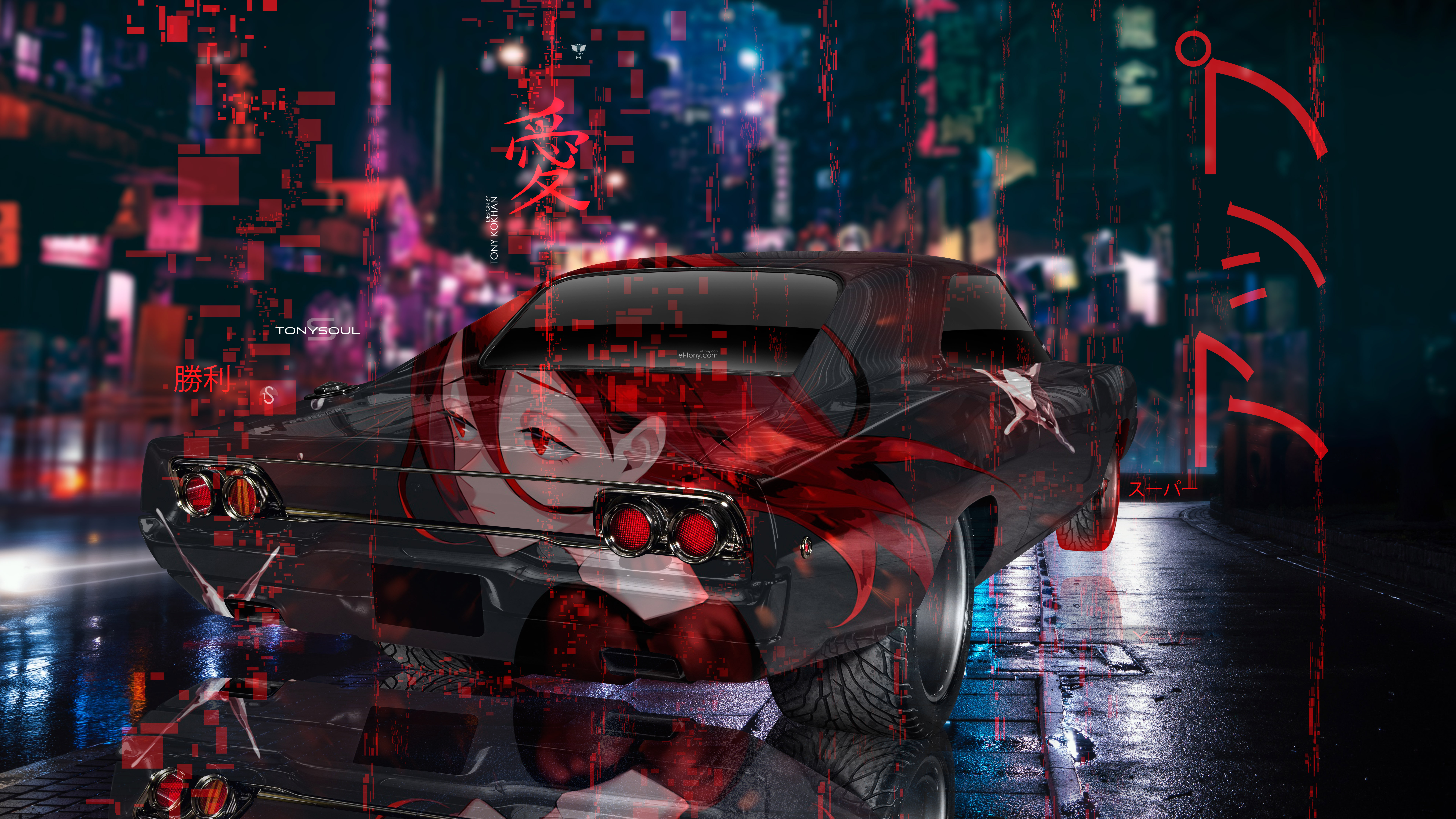 Dodge-Charger-RT-Muscle-Tuning-Anime-Girl-Love-Victory-Infinity-Japanese-Hieroglyph-Super-Up-Night-City-Car-2019-Multicolors-8K-Wallpapers-design-by-Tony-Kokhan-www.el-tony.com-image