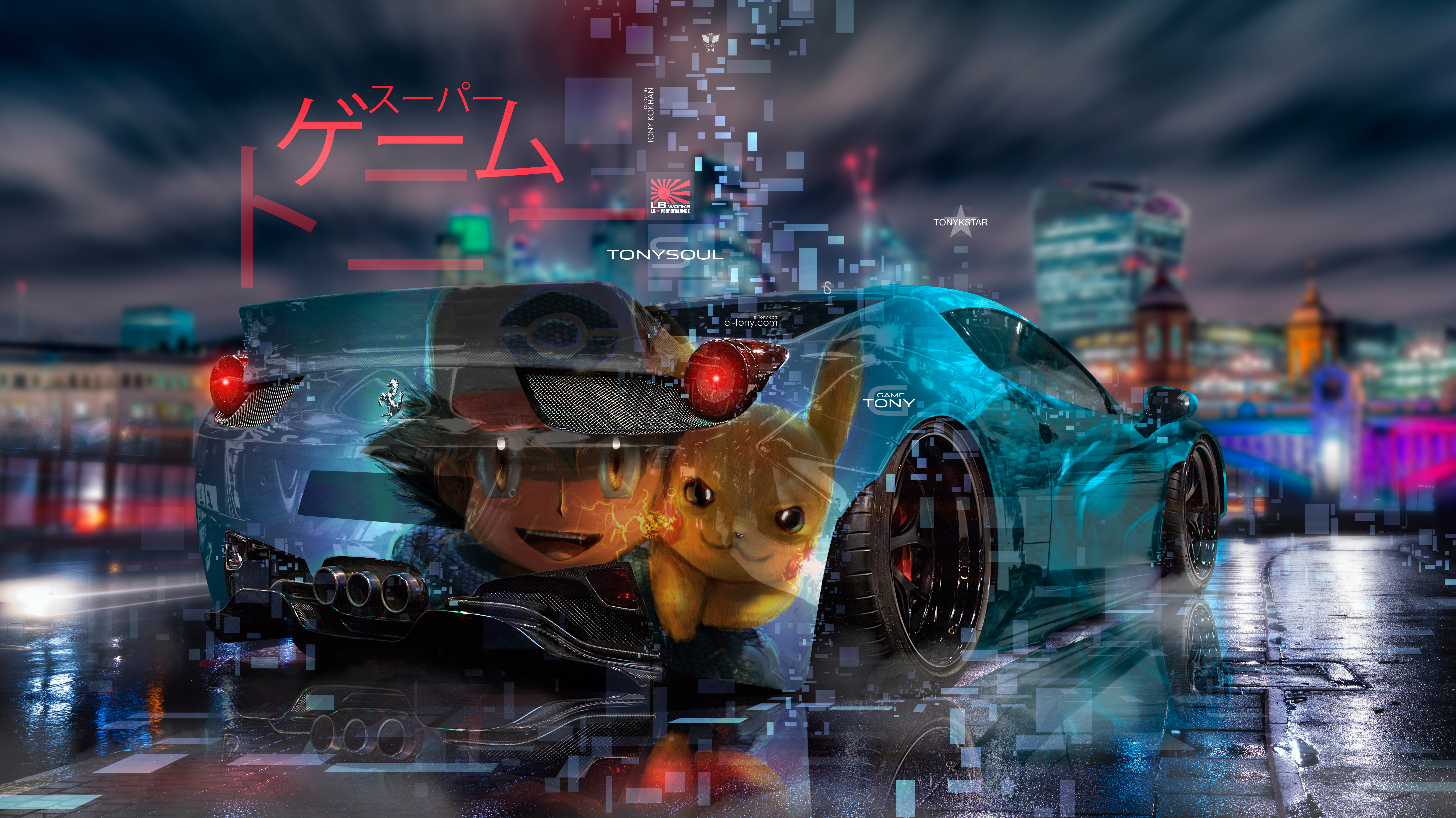 Ferrari-458-Italia-Liberty-Walk-Tuning-Anime-Ash-Pikachu-Super-Game-Tony-Night-City-TonykStar-Art-Car-2019-Multicolors-8K-Wallpapers-design-by-Tony-Kokhan-www.el-tony.com-image