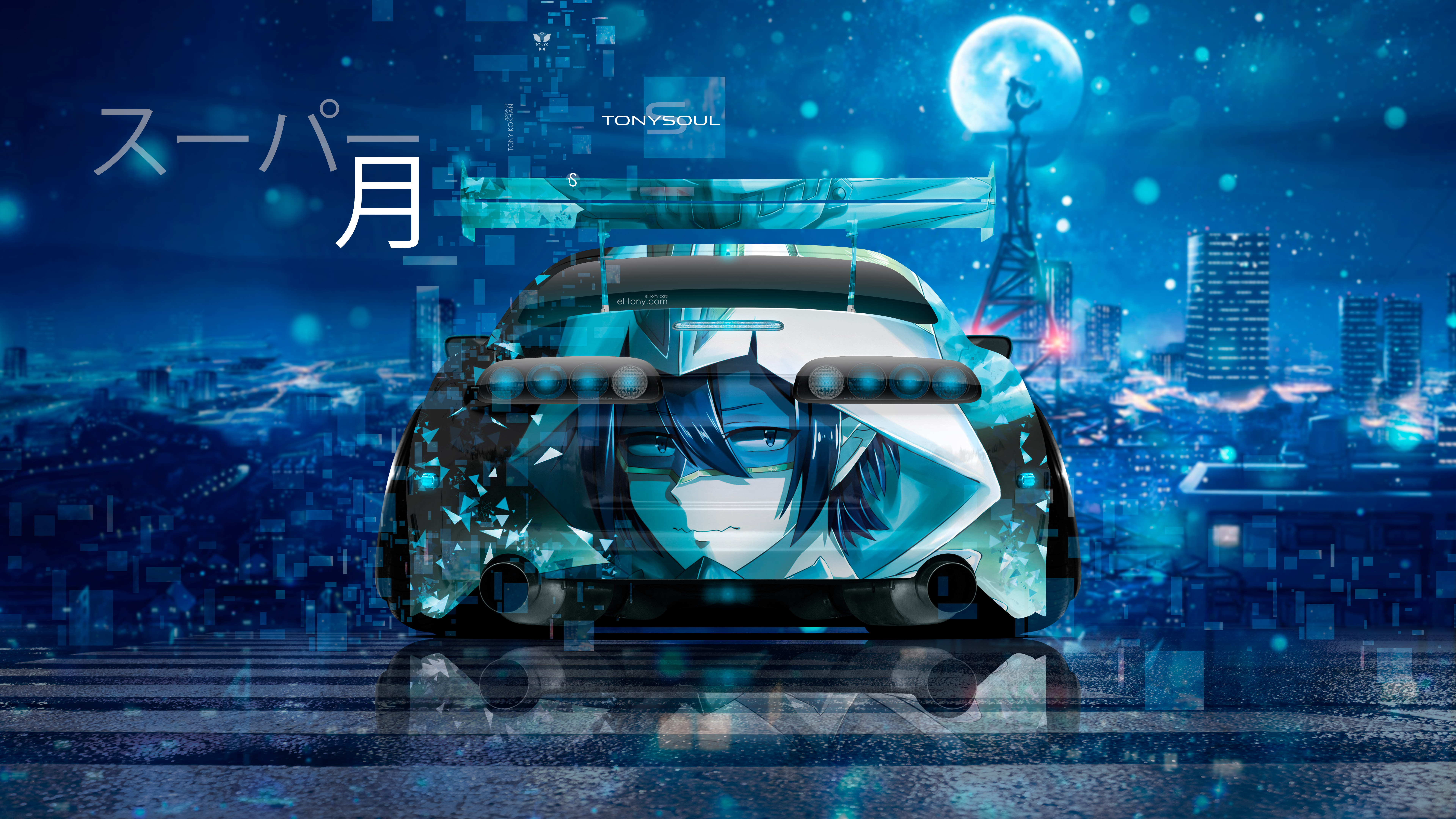 Toyota-Supra-JZA80-JDM-Tuning-Back-Anime-Boy-Girl-Super-Moon-TonySoul-Night-City-Art-Car-2019-Blue-Azure-Black-Colors-8K-Wallpapers-design-by-Tony-Kokhan-www.el-tony.com-image