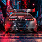 Toyota Supra JZA80 JDM Tuning Back Anime Ken Kaneki Love Super Victory Infinity TonySoul Night City Art Car 2019