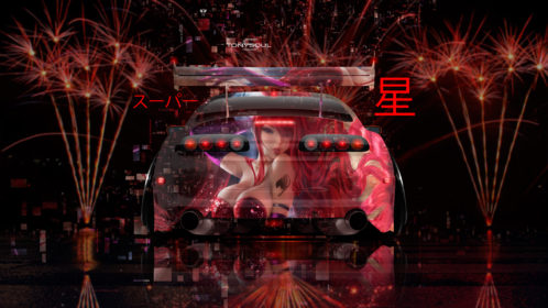 Toyota-Supra-JZA80-JDM-Tuning-Back-Girl-in-Red-Super-Star-Firework-Japanese-Hieroglyph-TonySoul-Art-Car-2019-Multicolors-8K-Wallpapers-design-by-Tony-Kokhan-www.el-tony.com-image