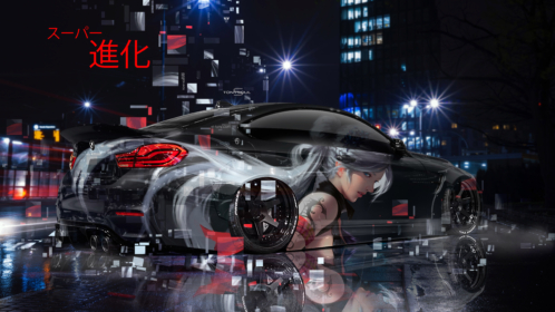 BMW-M4-F82-Tuning-Super-Fantasy-Girl-Aerography-Evolution-Japanese-Hieroglyph-Night-City-Car-2019-Multicolors-8K-Wallpapers-design-by-Tony-Kokhan-www.el-tony.com-image