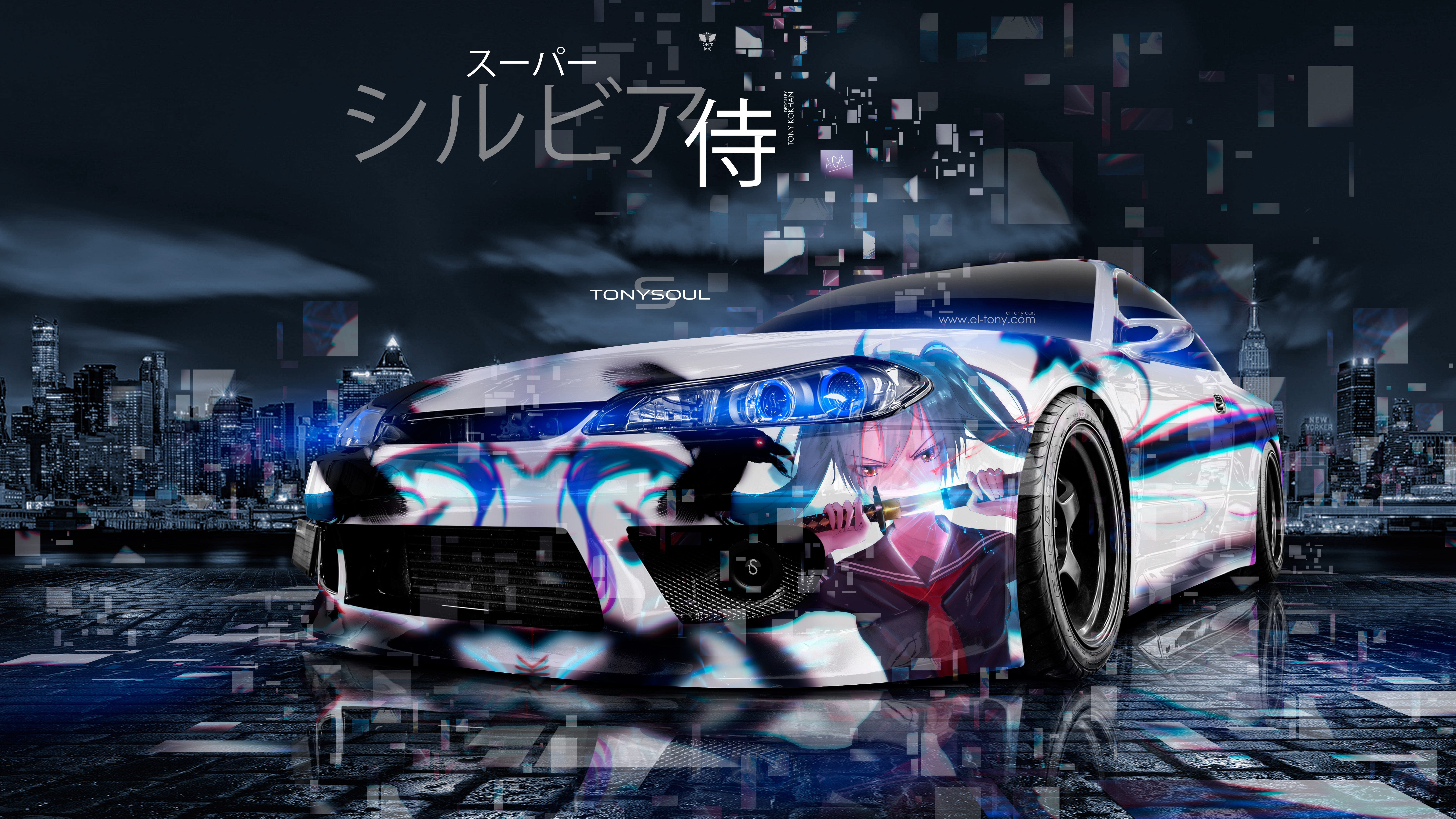 Nissan-Silvia-S15-JDM-Tuning-Anime-Girl-Super-Samurai-TonySoul-Japanese-Hieroglyph-Night-City-Car-2019-Multicolors-8K-Wallpapers-design-by-Tony-Kokhan-www.el-tony.com-image