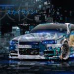 Nissan Skyline GTR R34 JDM Tuning Super Anime Girl Angel Energy Japanese Hieroglyph Neon Art Car 2019