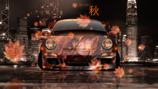 Porsche-911-Front-Super-Autumn-Girl-Leaves-Neon-Effects-Japanese-Hieroglyph-Night-City-Art-Car-2019-Orange-Black-Colors-8K-Wallpapers-design-by-Tony-Kokhan-www.el-tony.com-image