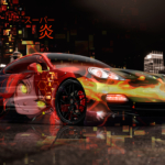 Porsche Panamera Super Anime Girl Aerography Japanese Hieroglyph Flame Abstract Night City Art Car 2019