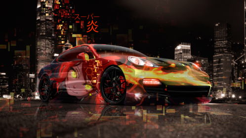 Porsche-Panamera-Super-Anime-Girl-Aerography-Japanese-Hieroglyph-Flame-Abstract-Night-City-Art-Car-2019-Multicolors-8K-Wallpapers-design-by-Tony-Kokhan-www.el-tony.com-image