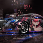 Toyota Crown Athlete Super Anime Girl Gun Anger Emotions Japanese Hieroglyph Night City Neon Art Car 2019
