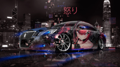 Toyota-Crown-Athlete-Super-Anime-Girl-Gun-Anger-Emotions-Japanese-Hieroglyph-Night-City-Neon-Art-Car-2019-Multicolors-8K-Wallpapers-design-by-Tony-Kokhan-www.el-tony.com-image