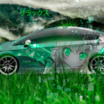 Toyota Prius Side Super Anime Girl Neko Nya by Umio Kimura Aerography Relax Nature Grass TonySoul Art Car 2019