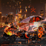 Lamborghini Egoista Super Anime Genos One Punch Man Japanese Hireoglyph Fire Night City TonySoul Art Car 2019