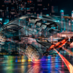 Lamborghini Sian Super Hologram Crystal Fly Universe Neural Network Square Night City TonySoul Art Car 2019