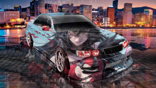 Toyota-Chaser-JZX100-JDM-Tuning-Super-Anime-Girl-Star-Hong-Kong-China-Night-City-Art-Car-2019-Multicolors-8K-Wallpapers-design-by-Tony-Kokhan-www.el-tony.com-image