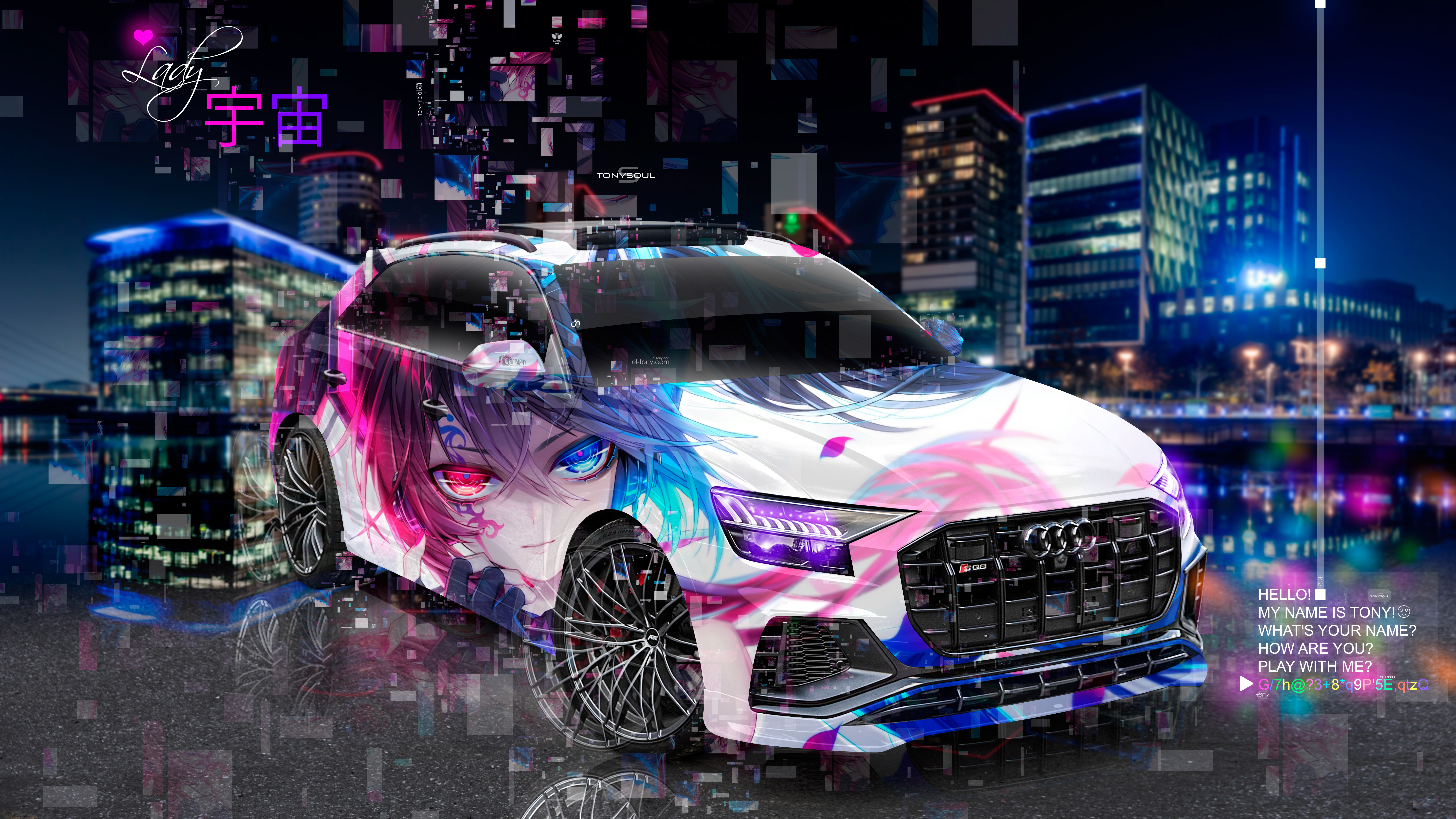 Audi-SQ8-Super-Anime-Girl-Aerography-TonySoul-TonyCode-Lady-Universe-Love-Heart-Night-City-Art-Car-2019-Multicolors-8K-Wallpapers-design-by-Tony-Kokhan-www.el-tony.com-image