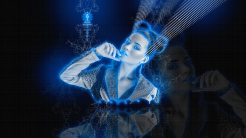 Hi-Tony-Artificial-Intelligence-Voice-Girl-Glance-Mental-Model-Projection-Japanese-Hieroglyph-Space-Thread-Neon-Words-2019-Blue-White-Black-Colors-8K-Wallpapers-design-by-Tony-Kokhan-www.i-v.tv-image