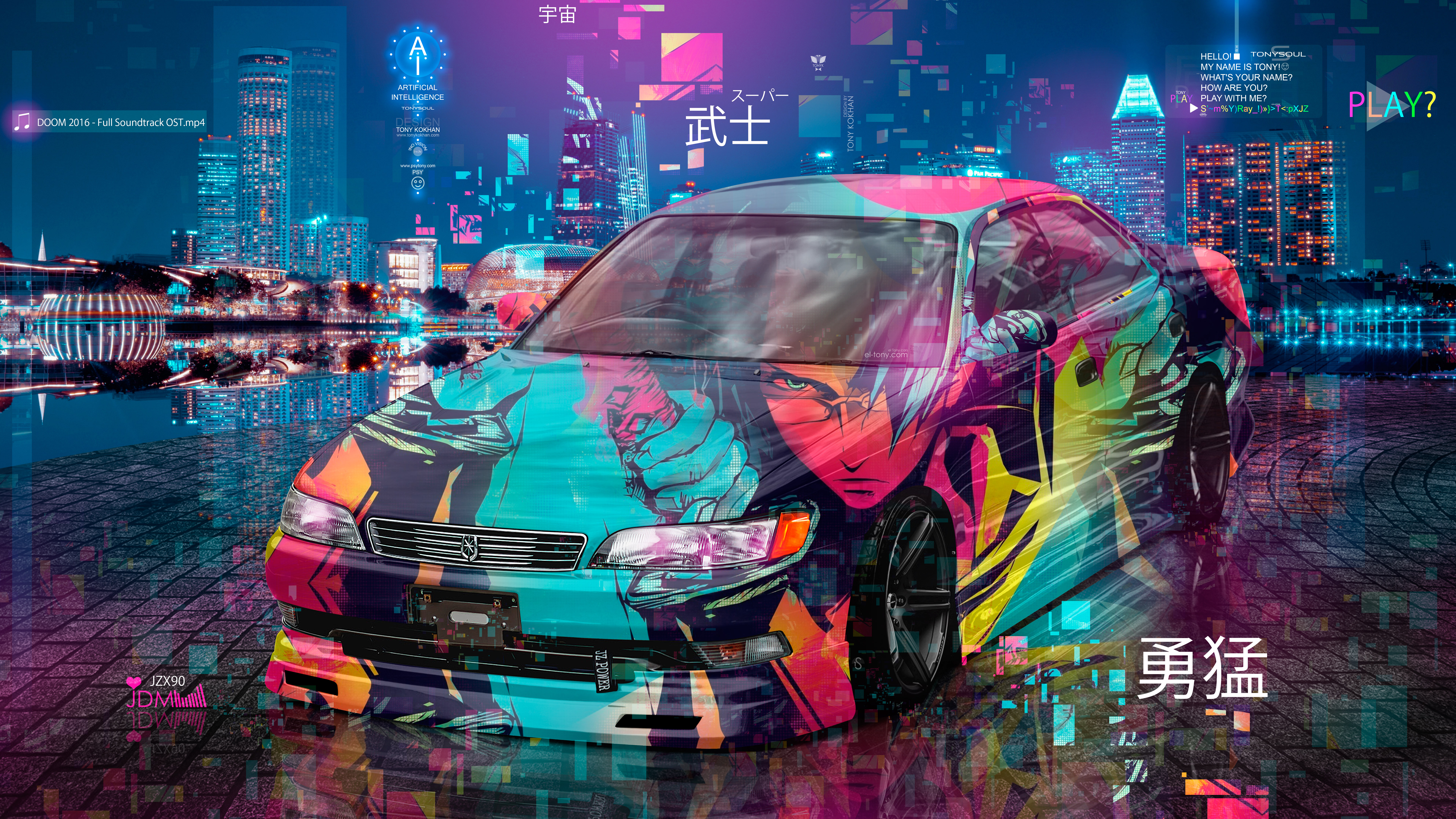 Toyota-Mark2-JZX90-JDM-Tuning-Super-Samurai-Anime-Boy-Bravery-Universe-TonySoul-Night-City-TonyCode-Art-Car-2020-Multicolors-8K-Wallpapers-design-by-Tony-Kokhan-www.el-tony.com-image