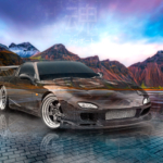 Mazda RX7 JDM Tuning Super Crystal Soul Teleport Vestrahorn Mountain TonySoul Universe Art Car 2020