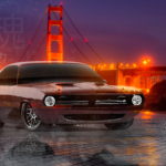 Plymouth Barracuda Tuning Super Crystal Soul Force Through The Stones Golden Gate Bridge San Francisco Night Car 2020