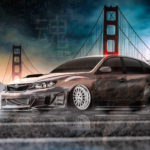 Subaru Impreza WRX STI JDM Tuning Super Crystal Soul Loneliness Golden Gate Bridge San Francisco City Art Car 2020