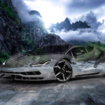 Lamborghini Centenario Super Crystal Cold Soul Mountains River Nature Universe Hologram Art Car 2020
