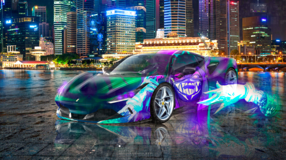 Ferrari-F8-Tributo-Super-Toxic-Soul-KDA-Akali-League-of-Legends-Artificial-Intelligence-Night-City-Car-2020-Multicolors-8K-Wallpapers-by-Tony-Kokhan-www.el-tony.com-image