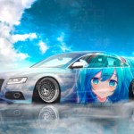 Audi RS5 Liberty Walk Super Anime Girl Hatsune Miku Crystal Sincerity Soul Artificial Intelligence God Sky Art Car 2020