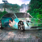 Porsche Taycan Super Anime Girl Tsuyu Asui Crystal Nature Soul Thailand Waterfall Thi Lo Su Tactile Hologram Car 2020