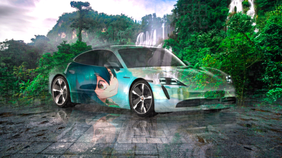 Porsche-Taycan-Super-Anime-Girl-Tsuyu-Asui-Crystal-Nature-Soul-Thailand-Waterfall-Thi-Lo-Su-Tactile-Hologram-Car-2020-Multicolors-8K-Wallpapers-by-Tony-Kokhan-www.el-tony.com-image