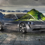 Porsche Taycan Super Crystal Problem Soul Nature Mountain Volcano Tactile Hologram Art Car 2020
