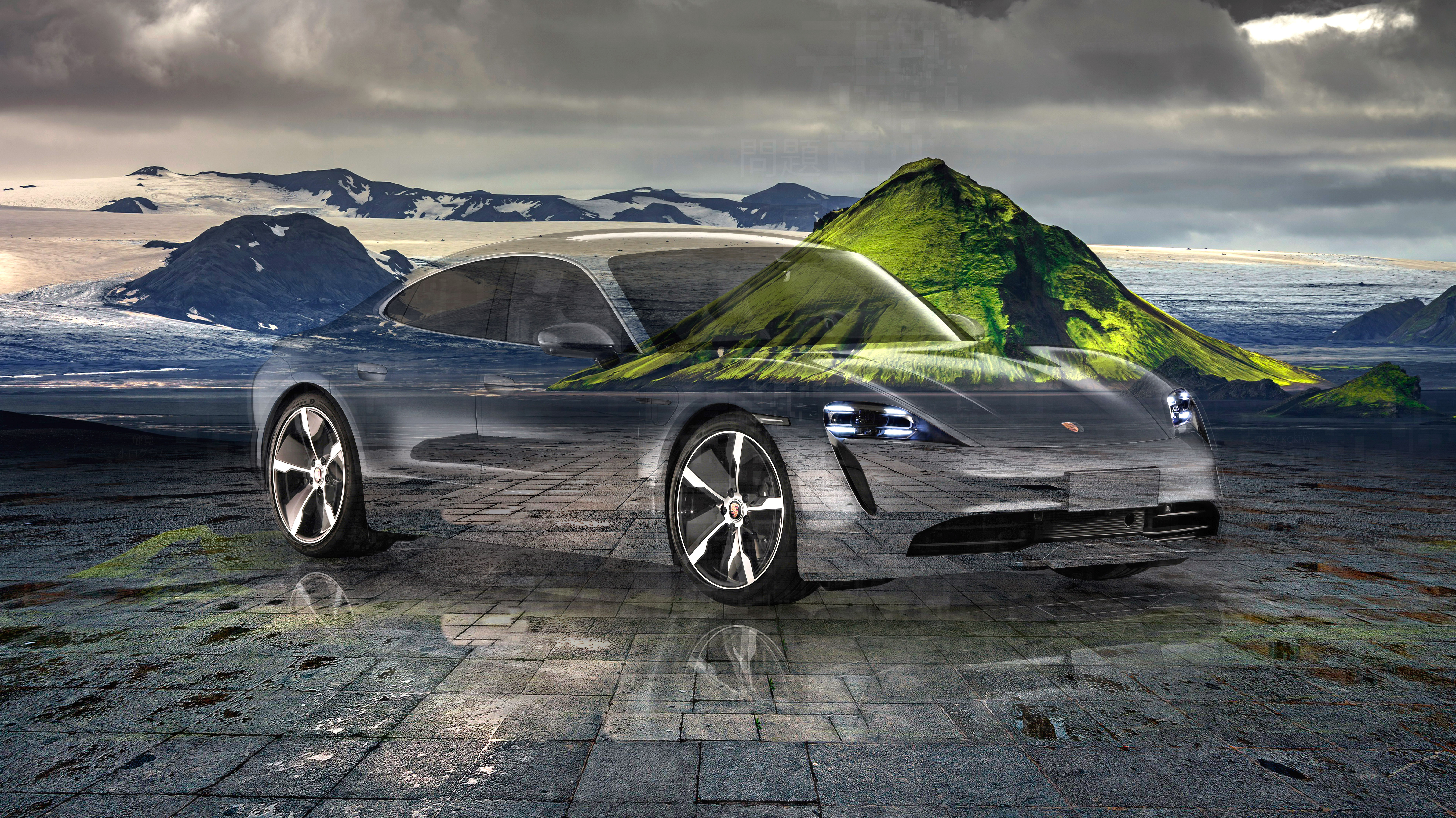 Porsche-Taycan-Super-Crystal-Problem-Soul-Nature-Mountain-Volcano-Tactile-Hologram-Art-Car-2020-Multicolors-8K-Wallpapers-design-by-Tony-Kokhan-www.el-tony.com-image