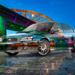 Subaru Legacy B4 JDM Tuning Super Crystal Combat Soul Arnhem Provincie Gelderland Holland Night Bridge Art Car 2020