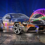 Toyota Supra A90 JDM Tuning Super Crystal Joy Soul Australia Sydney Harbour Bridge Night City Art Car 2020