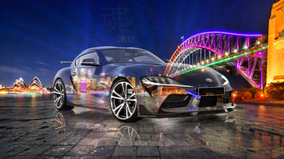 Toyota-Supra-A90-JDM-Tuning-Super-Crystal-Joy-Soul-Australia-Sydney-Harbour-Bridge-Night-City-Art-Car-2020-Multicolors-8K-Wallpapers-design-by-Tony-Kokhan-www.el-tony.com-image
