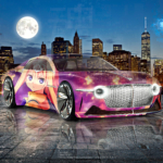 Bentley EXP 100 GT Super Anime Girl Crystal Justice Soul Moon New York USA Artificial Intelligence Justice Art Car 2021