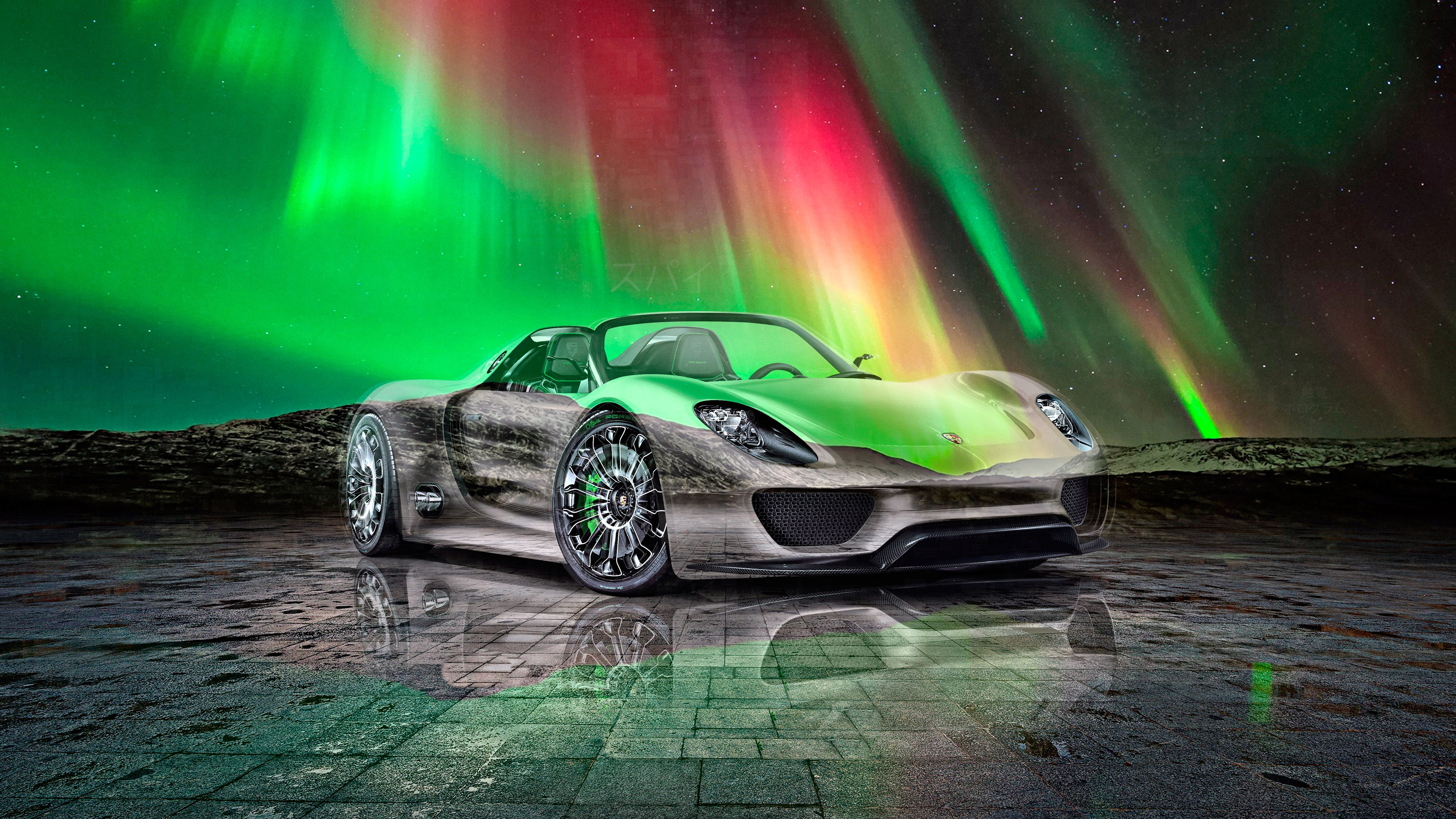 Porsche-918-Spyder-Super-Crystal-Spy-Soul-Northern-Lights-Tactile-Hologram-Art-Car-2021-Multicolors-8K-Wallpapers-design-by-Tony-Kokhan-www.el-tony.com-image
