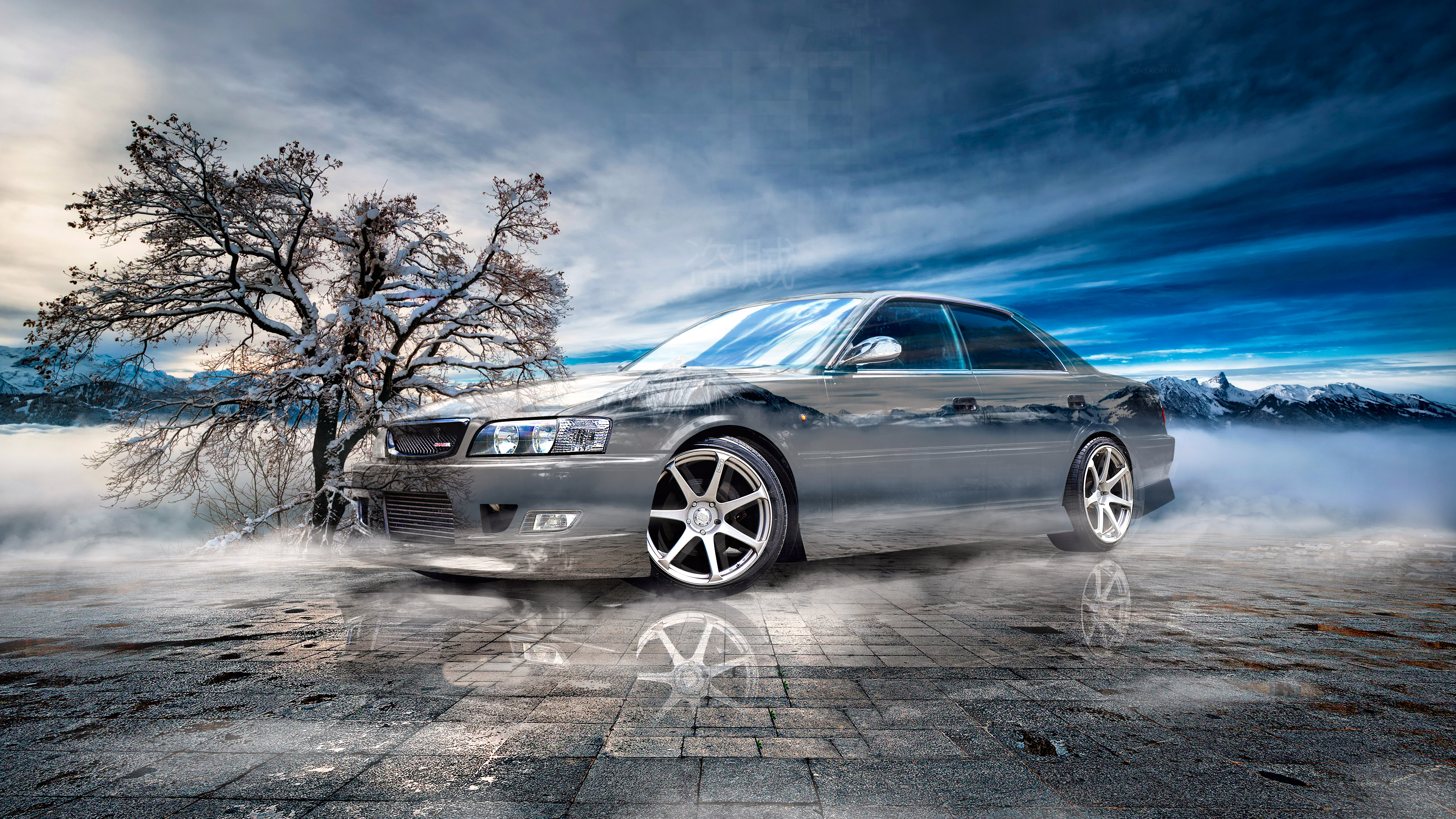 Toyota-Chaser-JZX100-JDM-Tuning-Super-Crystal-Bandit-Soul-Swiss-Alps-Switzerland-Winter-Tree-Art-Car-2021-Multicolors-8K-Wallpapers-by-Tony-Kokhan-www.el-tony.com-image