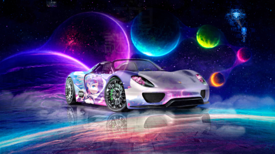 Porsche-918-Spyder-Super-Anime-Girl-Crystal-Mysterious-Soul-Space-Planets-Artificial-Intelligence-Princess-Art-Car-2021-Multicolors-8K-Wallpapers-by-Tony-Kokhan-www.el-tony.com-image