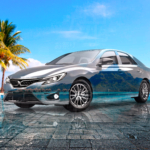 Toyota MarkX JDM Super Crystal Festive Soul Sea Palm Trees Tactile Hologram Art Car 2021