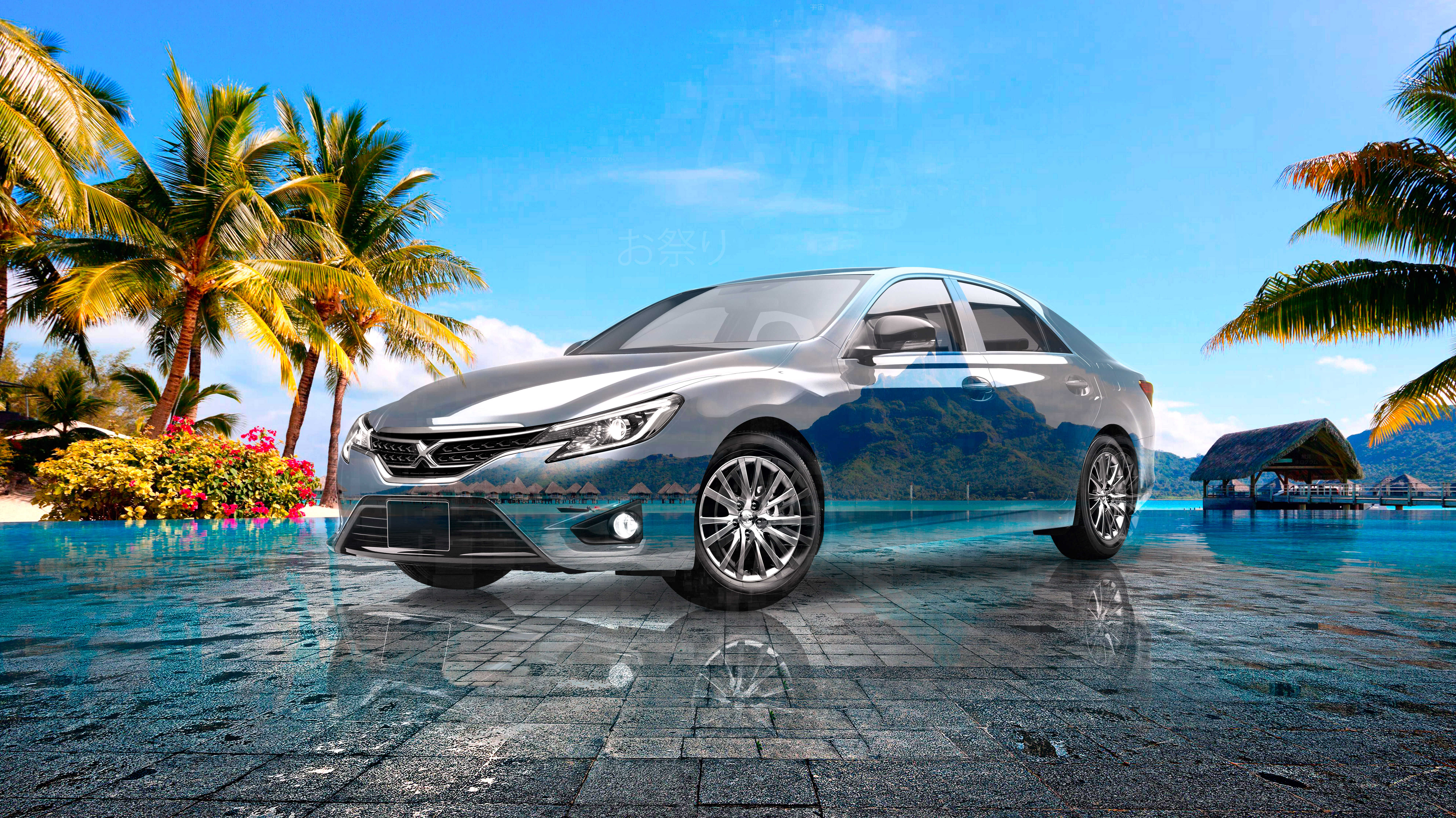 Toyota-MarkX-JDM-Super-Crystal-Festive-Soul-Sea-Palm-Trees-Tactile-Hologram-Art-Car-2021-Multicolors-8K-Wallpapers-design-by-Tony-Kokhan-www.el-tony.com-image