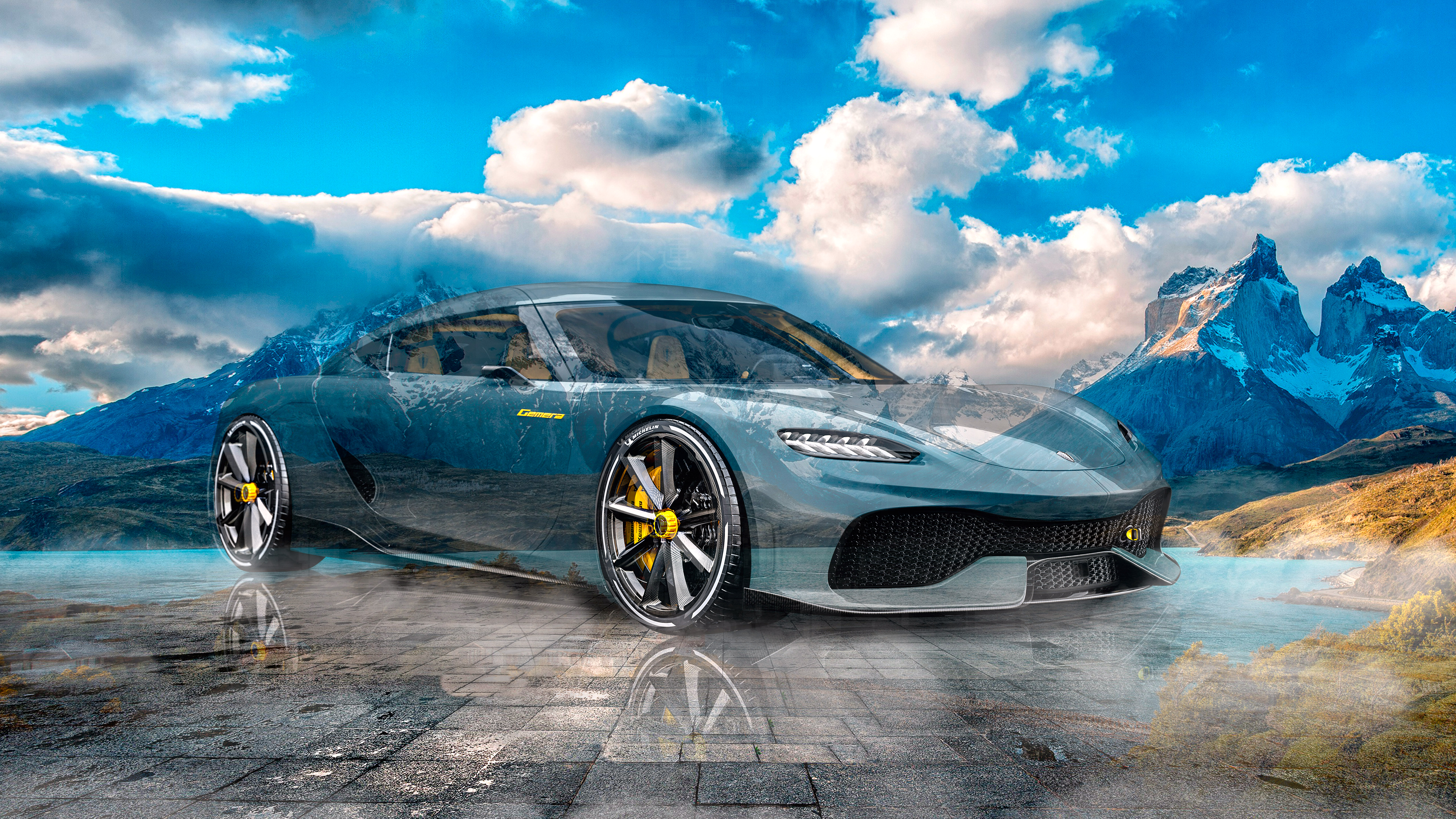 Koenigsegg-Gemera-Super-Crystal-Unlucky-Soul-Chili-Lake-Pehoe-Torres-Del-Paine-Sky-Mountains-Art-Car-2021-Multicolors-8K-Wallpapers-by-Tony-Kokhan-www.el-tony.com-image