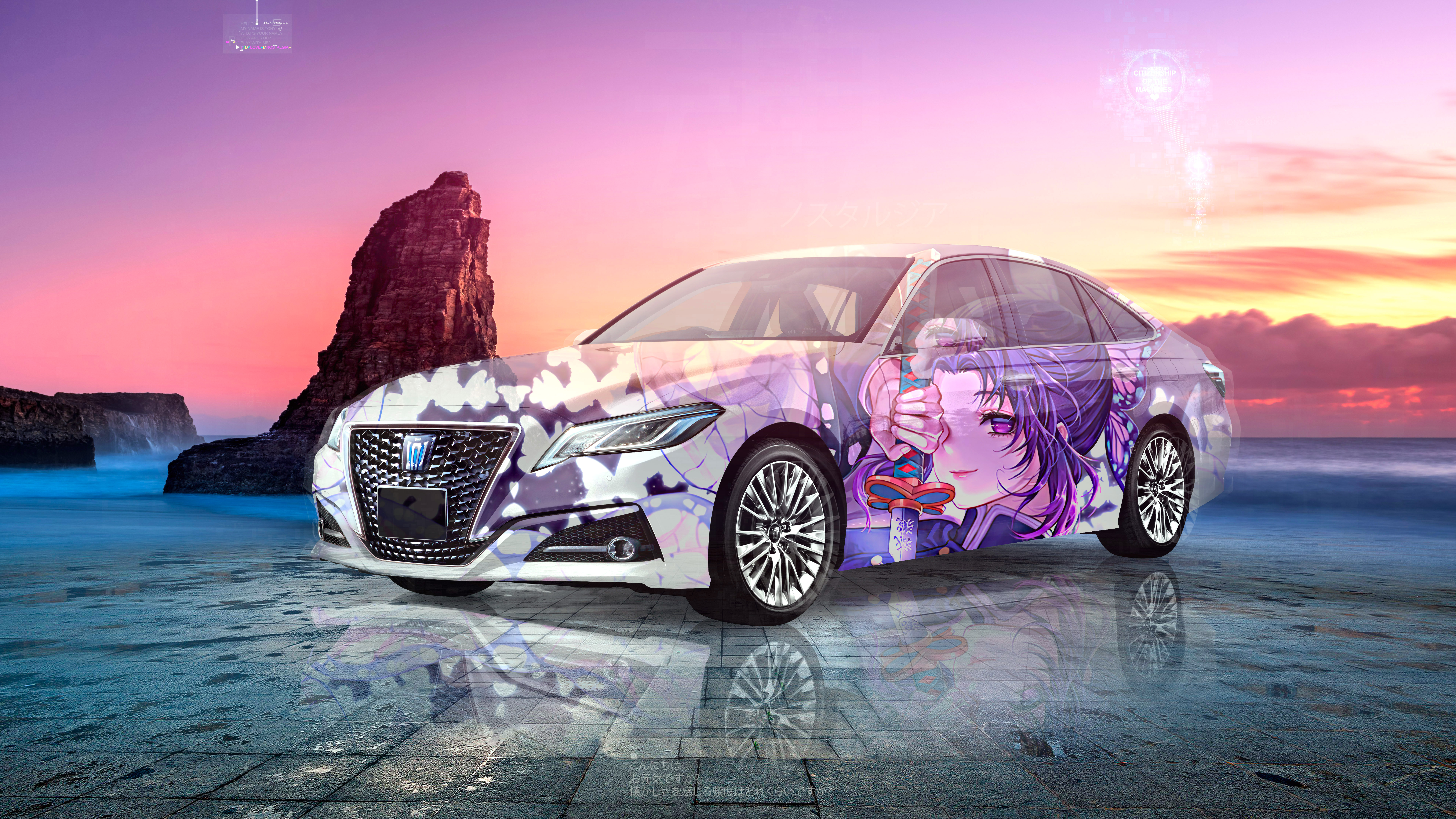 Toyota-Crown-S-Elegance-JDM-Super-Anime-Girl-Crystal-Nostalgia-Soul-Sea-Rock-Artificial-Intelligence-Citizenship-Car-2021-Multicolors-8K-Wallpapers-by-Tony-Kokhan-www.el-tony.com-image